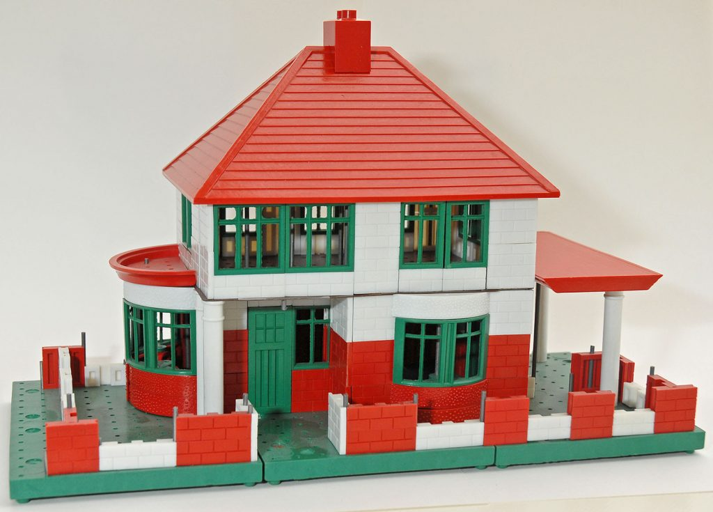a toy house built from plastic brick parts