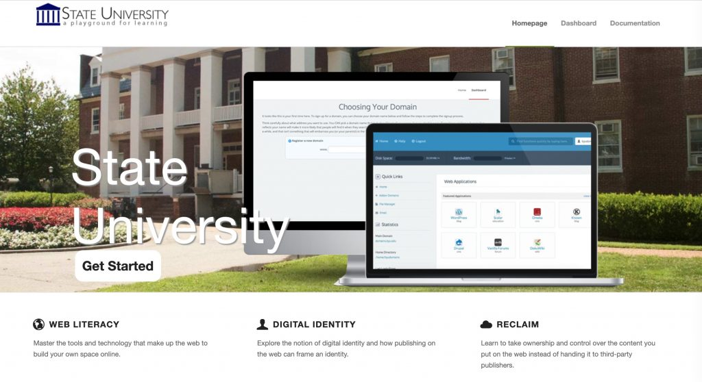 Web site with image that looks like a university campus with sections labeled Web Literacy, Digital Identity, and Reclaim